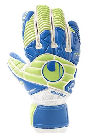 Uhlsport Goalkeeper Gloves Eliminator Aquasoft HN Windbreaker - White/Blue/Fluo Green Image