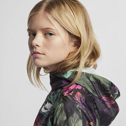 Nike Sportswear Windrunner' Floral' Older Kids' (Girls') Floral Windbreaker - Green Image 5