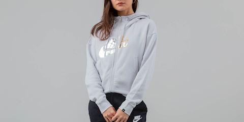 71cb51a57143 Nike Sportswear Rally Women s Metallic Full-Zip Hoodie - Grey Image