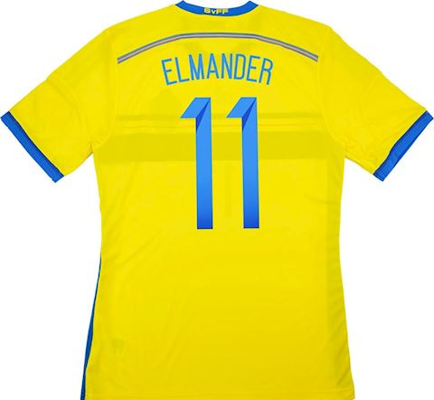 adidas Sweden Mens SS Player Issue Home Shirt 2014 Image 4
